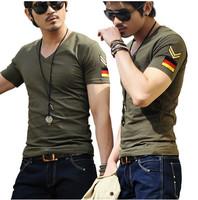 Free Shipping Men brand T-Shirts,man printing tshirts,fashion V-neck t shirt, men  plus size 5 size M-XXXL  D89