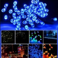 12m 100leds solar led string lights Fairy Lights Outdoor Courtyard Lights for garden decoration blue green yellow white