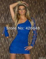 Ladie's Sexy Single Shoulder long Sleeve party evening elegant Mini Lace Dress 7 Colors