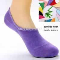 Free Shipping 20pcs=10 pairs/lot  Bamboo fiber Womens candy colors invisible Socks, anti- slip, cheap and good qualtiy