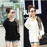 Fashion on sale womens Patchwork tops T-shirts plus size women clothing long sleeve tee with leopard M-XXXL free shipping w002