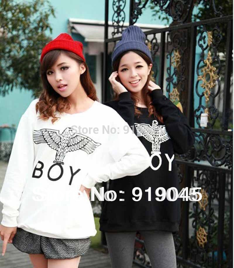2014 Free Shipping Women Eagle BOY London Pullovers Big bang Loose Eagle Pattern Print Long Sleeve Hoodies Sweatshirt(China (Mainland))