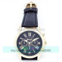 100pcs/lot Super Seller GENEVA Brand Ladies Casual Watch Fashion Roman Style Dress Leather Watch Wrap Quartz Wristwatch