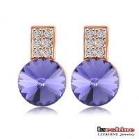 LZESHINE Brand Round Purple Austrian Crystal SWA Elements Earrings 18K Rose Gold Plate Retro Style Stud Earrings ER0187-A