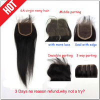 Free shipping  peruvian virgin remy human hair lace closure bleached knots straight natural black guarantee