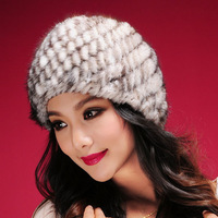 13603 Real mink fur hat Beanie ski cap head warmer headgear hottest Skull womens' hat winter good gift