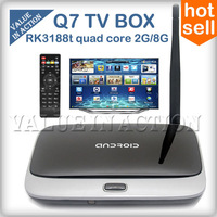 Q7(CS918/MK888) Android TV Box RK3188 Quad Core 2G/8G HDMI WiFi XBMC Google Smart TV Receiver receptor Media Player New 2014