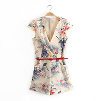 2014 Fashionable Fields and Gardens Print Jumpsuit V-neck Chiffon Romper with Belt   L4