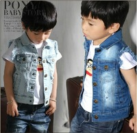 2013 kids children outwear clothing baby girls& boys fashion super cool denim vest