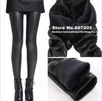 New Arrival Shiny Metallic High Waist Black Stretchy warm  Leather Leggings for women sripped leggings Hot sales