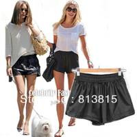 SH12*2013 Celeb Style Summer Autumm Women Loose-fit Elastic High-waisted Black Faux Leather Shorts Hotpants Hot Mini Hot Pants