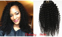 Unprocessed Grade 5A Virgin Remy Brazilian Hair Weave 3pcs lot Mix Length 8- 26inch Kinky Curly Hair Natural Color Smoth &Soft