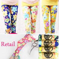 Retail girls skinny flower printed cotton leggings kids fashion legging  many color  color to choose 158