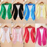 Free Shipping Sweaters 2014 women fashion Candy Long Size Summer Lace Cardigan Sweater Coat for women #102