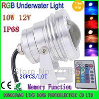 20pcs 10w LED RGB Underwater light Waterproof IP68 12V rgb led Outdoor Flood light car light with Convex Glass (free by FedEX