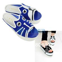 New Summer Woman Girls Casual Cute Animal Print Sponge Cake Heel Slippers Shoes Black/ Blue 16381(China (Ma