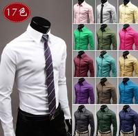 Brand UYUK  2015 Fashion Korean Design Candy Colors  Men's Casual Long Sleeves Shirt Tops Tees M, L , XL, XXL  , XXXL Plus Size