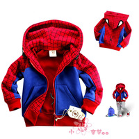Autumn and Winter New 2014 	Coats and Jackets for Children Kids Outerwear Boys Spiderman Cotton Hoodie Sweatershirts S-XXXL
