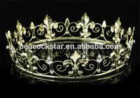 Free Shipping Wholesale Imperial Medieval Fleur De Lis Full Circle Gold King Men's Crown CT1747