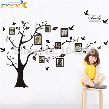 """hot selling xxl size 99''*79"""" black photo frame tree wall decals zooyoo94ab wall stickers home decorations living room wall arts"""