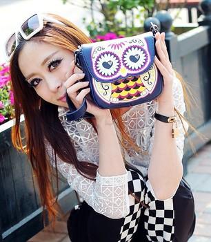 Hot Sale 2013 New Fashion Women Cute Handbag Cartoon Owl Shoulder Bag Messenger Bag sv18 12981
