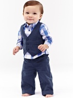 Hot sale Fashion Children boy gentlemen 3pcs set clothes suit,formal school suit plaid shirt + vest + pants clothing set