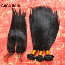 Peruvian Virgin Hair Extension 5A Human Hair Weave Weft Bundles Straight With Middle/ Free Part Lace Closure GAGA Hair Products(China (Mainland))