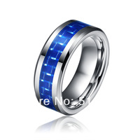 8mm Tungsten Carbide Ring,Comfort Fit Men Jewelry,Wedding Ring With Blue Carbon Fiber Inlay,New size 7-13 Free Shipping TU009R