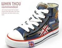 Boys Shoes 2014 New Summer Children's Canvas Sport Sneakers For Kids Boy Flag Brand Designer Denim Casual Sports Rubber Shoe