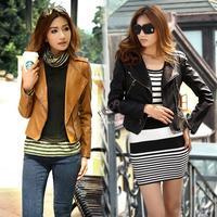 Women's Girls Cool Stylish Zip Up Leather Biker Slim Fit Short Jacket Coat Outwear 17313