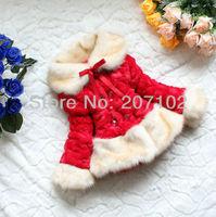Retail 1pc red kids faux fur coat children luxury jacket faux fox fur collar fleece lining winter girls outerwear free shipping