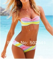 Free Shipping Drop ship cheap bikini bandeau colored swimsuits  push up bathing suit  ladies swimwear