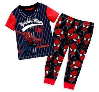 Good Quality Children's Short Sleeves Cartoon SPIDER-MAN Pajamas Boy's Summer Nightwear Sets, 6 Sizes/lot - GPA266/GPA279