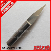 6*20Degree*0.4*40L Guangzhou Flat Bottom Wood Engraving Router Bits/ Sharp Solid Carbide Tool On 3D Woodworking Relief Machining