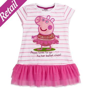 Retail ! Nova Girls' dresses new fashion 2015 kids wear baby dresses  casual peppa pig girls lace dresses
