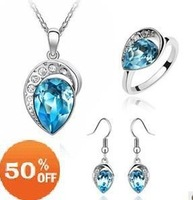 18K white gold plated austrian crystal water drop earrings/necklace/ring Jewelry Sets fashion jewelry