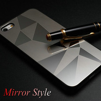 Luxury Mirror Aluminum Hard Case for iPhone 5 5S 5G Metal Phone Back Cover for iPhone5 Hybrid 7 Styles In Black Silver