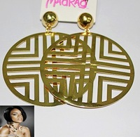 Gold Tone Celebrity Trendy Matrix Camouflage Round Disc Oversized Earrings