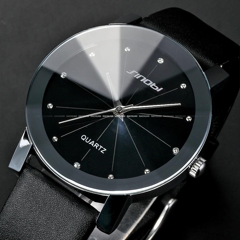 Classical SINOBI Diamond Crystal Silver Case Elegant All Black Men Quartz Wrist Gift Dress Men's Leather Strap Watch / SNB021(China (Mainland))
