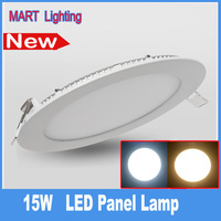 Ultra bright 15W slim round panel light 1450lm white bathroom bedroom recessed ceiling lamp