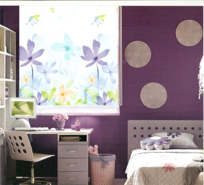 Fresco padrão de flor apagão janela sombreadas cortinas de rolo de tecido(China (Mainland))