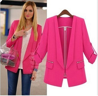 2014 Womens Tunic Foldable Sleeve Candy Color Lined Striped Blazer Jacket Shawl Cardigan Coat one button