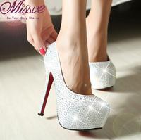 Guarantee 2015 silver women rhinestone prom wedding pumps shoes ladies fashion sexy red bottom party high heels platform pumps