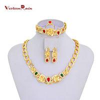 WesternRain Classic Collar Costume Jewelry Necklace&Bracelet&Earrings/18k Gold Plated Jewelry Set,Women Jewelry Sets Gold 18k