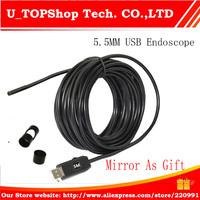 HD 1.3M 720P 5.5mm Lens USB 2.0 Waterproof Endoscope Borescope Snake Inspection Camera 5M, Medical Detection,Mini Camera