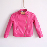 Hot sale autumn baby girl's blazer child stand collar rosy/red leather clothing outerwear short design PU coat motorcycle jacket