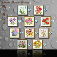 Diy cross stitch diamond lucky flower resin square drill diamond sticker new arrival photos of wall