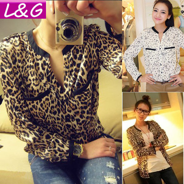 New 2014 Fashion Women Blouses Hot Selling Casual Leopard/Star Shirt Autumn-Summer Blusas Winter Woman Printed Blouse S-L 20003(China (Mainland))