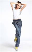 Free Shipping Good Quality Wide Leg Pants Harem Pants Elastic Waist High Waist Jeans Casual Jogging Sport Pants Women