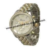 52pcs/lot,stainless steel fashion quartz woman watch, luxury band geneva metal bracelet wristwatch, lady rhinestone dress watch.